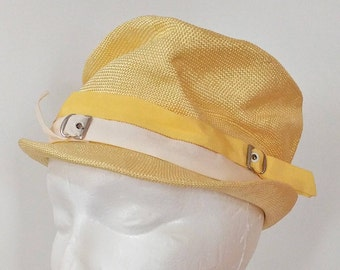 6bf6bea5a76332 Vintage YELLOW Straw HAT / Anita Pineault / 1950's