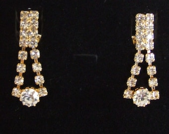 13d16e78a Vintage CLEAR RHINESTONE EARRINGS / Classic earrings / Gold Plated / High  Quality / Unused Old Factory Stock / Gift Boxed