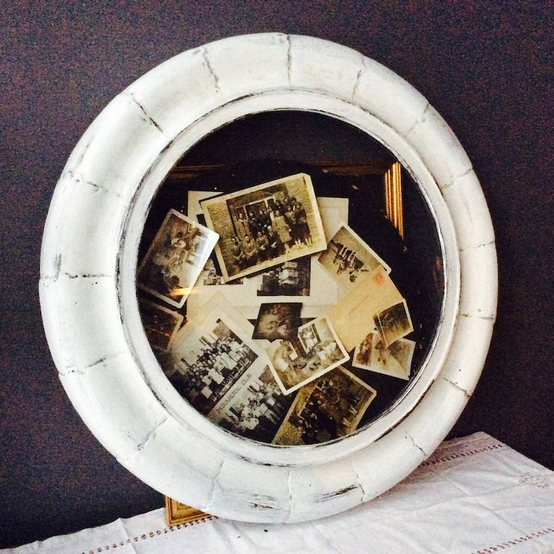 Distressed Large Round Frame French Farmhouse Clock Frame image 0
