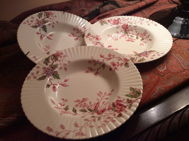 Booths China England Silicon China Porcelain Rim Soup Bowl  with  WashingtonPink Burgundy Floral Pattern English Porcelain Burgundy Floral