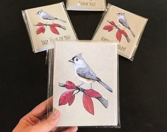 Tufted Titmouse Notecards.  Available in Plain, Happy Birthday, Thank You, Thinking of You, or a Variety Pack.  Great for Bird Lovers!