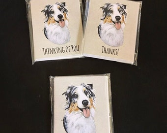 Australian Shepherd Notecards.  Comes in Plain, Happy Birthday, Thank You, Thinking of You, or a Variety Pack.  Great for Dog Lovers!