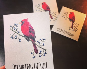 Cardinal Notecards.  Available in Plain, Happy Birthday, Thank You, Thinking of You, or a Variety Pack.  Great for Bird Lovers!