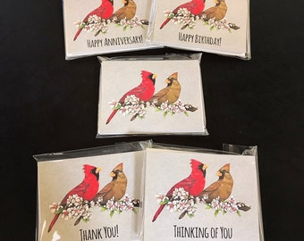 Male & Female Cardinal Notecards.  Available in Plain, Happy Birthday, Thank You, Thinking of You, or a Variety Pack. Great for Bird Lovers!