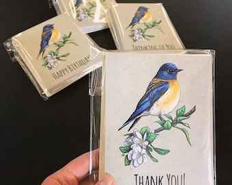 Bluebird Notecards.  Available in Plain, Happy Birthday, Thank You, Thinking of You, or a Variety Pack.  Great for Bird Lovers!