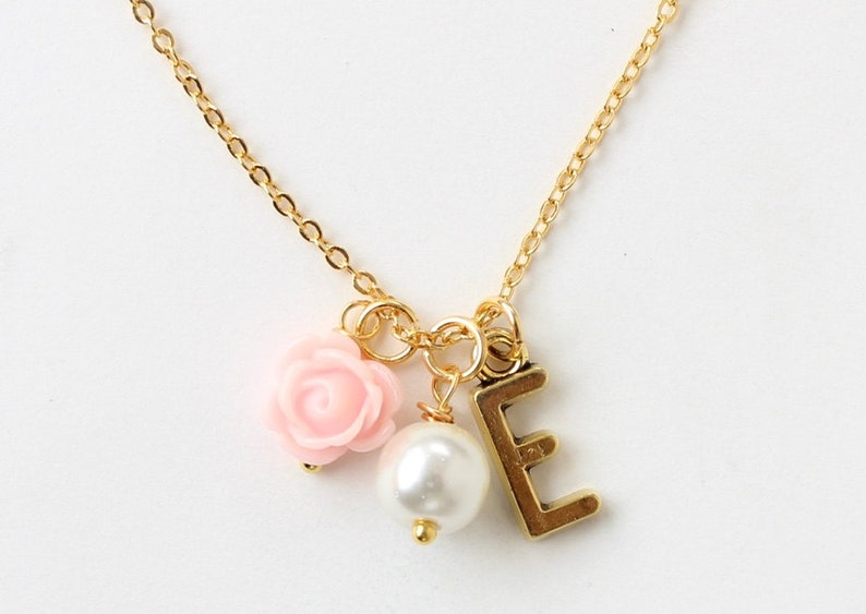 Gold flower girl necklace personalized flower girl necklace image 0