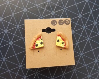 Olive Pizza Earrings Polymer Clay
