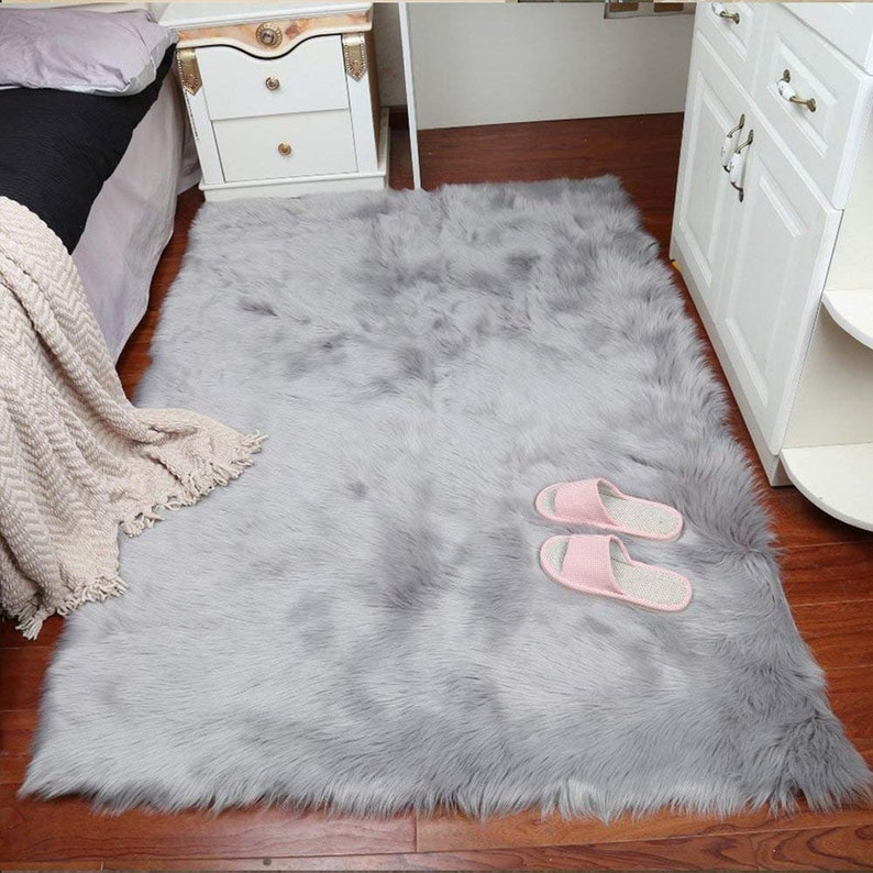0e06463d88b Faux Fur Rug Grey White Soft Fluffy Rug Shaggy Rugs Faux