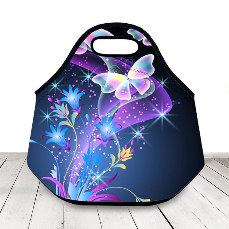 832ee6e02647 Butterfly Pattern Lunch Bag For Women Insulated Waterproof Thermal Travel  Picnic Cooler Bag,Neoprene Insulated Lunch Box Food Container