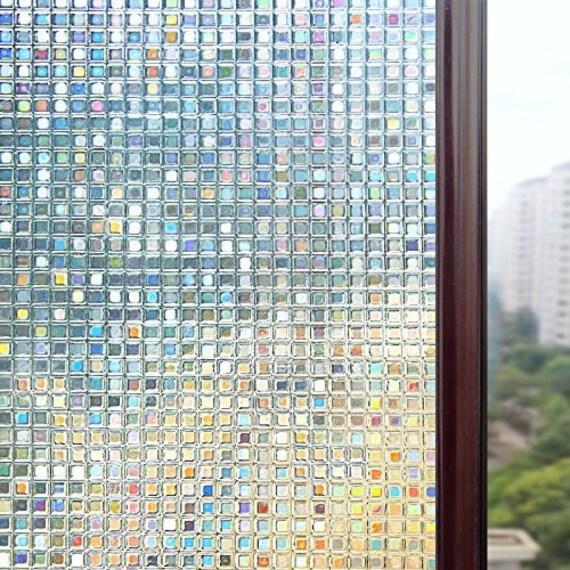 Badezimmer-Fenster-Aufkleber, 3D Fenster Film, geätztes Glas Film,  mattierte Glas Film, Privatsphäre Film für Glas Decoraation, kein ...