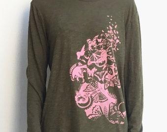 Long sleeve shirt butterflies, olive, women's shirt, sustainable
