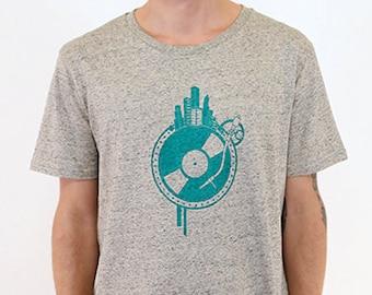 T-Shirt World Disc, Sand Grey Melted, Skyline, Record, TShirt Men', Men