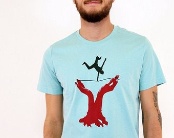 T-shirt, slackline, light turquoise, short sleeve shirt, men's shirt, leisure fashion