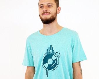T-shirt, world disc, turquoise mottled, short sleeve shirt