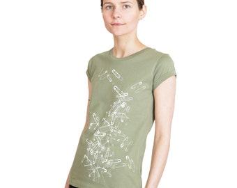 "Women's shirt ""Safety Pins"", olive green, organic, shirt, women, women, printed"