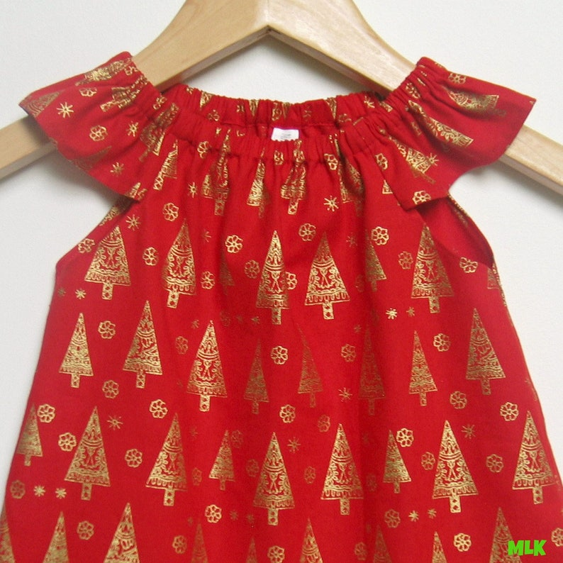 Christmas Dress Baby Girls Red and Gold Christmas Tree Christmas dress in size 1 Last one!