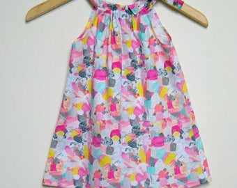 Girls Dress, pillow case style, bright rainbow colours sizes 1, 2, 3 great gift idea