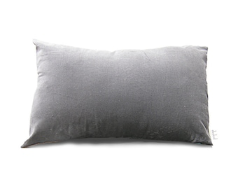 Decorative Cushion Cover   Grey Velvet   Grey Pillow Cover   Bolster Cushion    Oblong Cushion Cover Long Pillow
