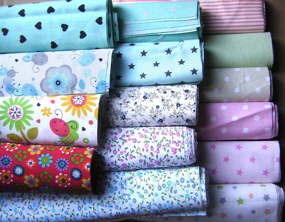 15 Fat Quarters Bundle PINK Polycotton Fabric Offcuts Scraps Remnants