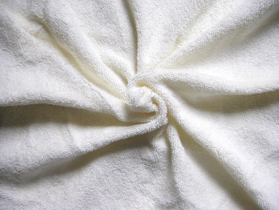 Cream Terry Towelling Fabric Ivory double sided non stretch.