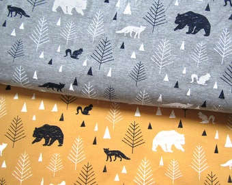 Sweatshirt jersey fabric Jersey Fabric  FOREST on 3 colors Jersey Knit Cotton  Jersey cotton fabric  - Extra Wide