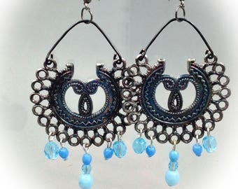 Style earrings, blue, Bohemian, aged metal.