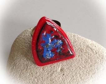 Triangular, ring, copper, red, blue enamel. adjustable.