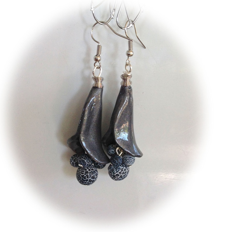 Earrings anthracite conical shape polymer clay