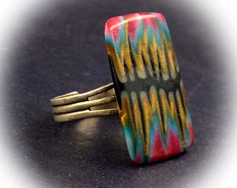 Ring, multicolor, rectangular, polymer clay.