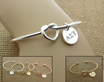 Alpha Sigma Tau Leather Bracelet Hand Stamped Bracelet Sorority Gift, Sorority Bracelet Pewter Bracelet Sorority Jewelry