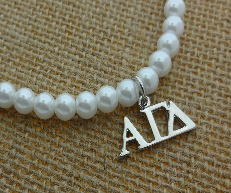 Alpha Gamma Delta Sorority Pearl Necklace Sorority Pearl Lavalier Necklace Jewelry with 2 Extender