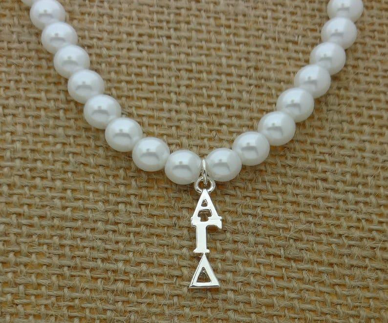 Alpha Gamma Delta Pearl Stretch Sorority Necklace Sorority Pearl Lavalier Necklace Jewelry