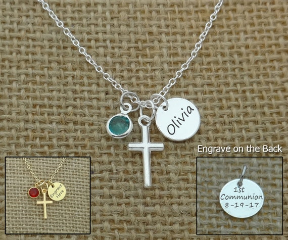 Confirmation Gift Girl/'s Stamped Name /& Date Cross Necklace Children/'s Birthstone Cross Necklace First Communion Gift Baptism Gift