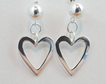Open Heart Sterling Silver Dangle Earrings