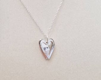 Double Floating Hearts Pendant Sterling Silver Necklace