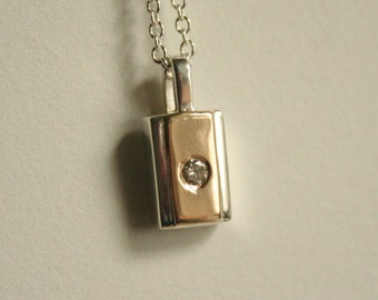 14k Yellow Gold and 925 Silver Diamond Pendant