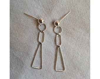 Sterling Silver Figurative Geometric Dangle Earrings