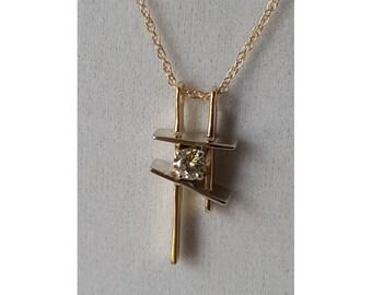 Two Tone Solid Gold Diamond Artistic Pendant