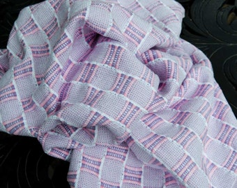 Cotton Baby Blanket - Pink, Purple & white  Ms and Os
