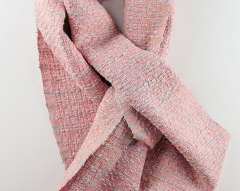 "Hand-dyed Silk Scarf in Salmon & pale blue 7.25"" x 68"""