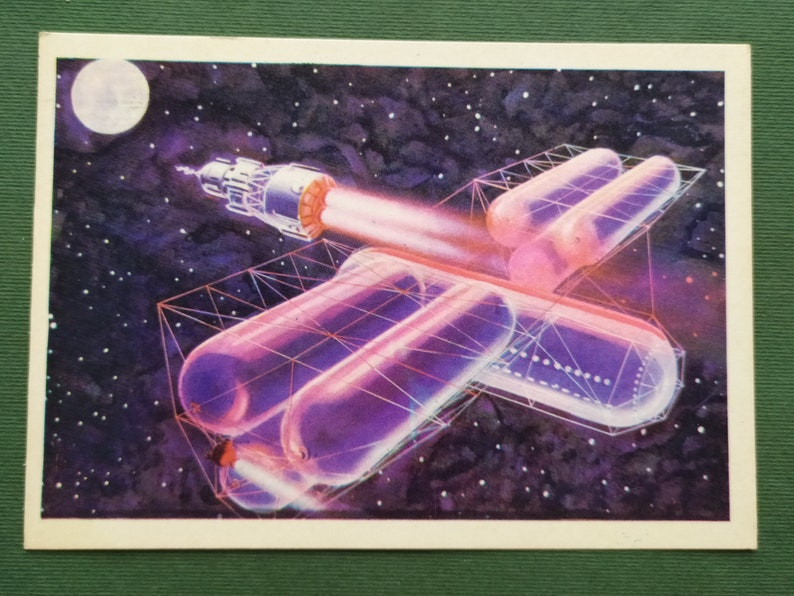 Leonov Space station launch A Sokolov 1968 Space Postcard A