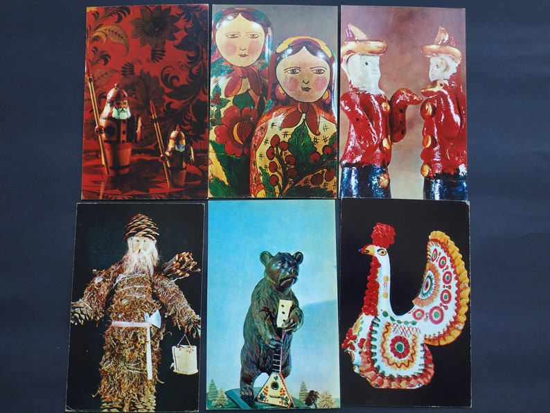 Set of 30 Vintage Postcards Moscow 1972 Frida Russian Toys Chilikina S Foto O