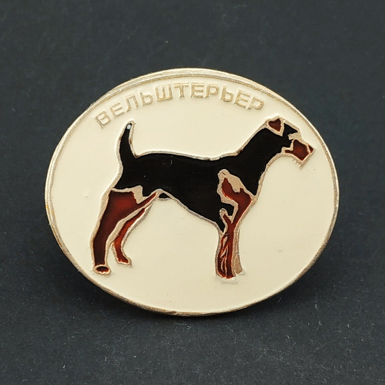 USSR Welsh terrier Vintage collectible badge Dog Pin Soviet Pin