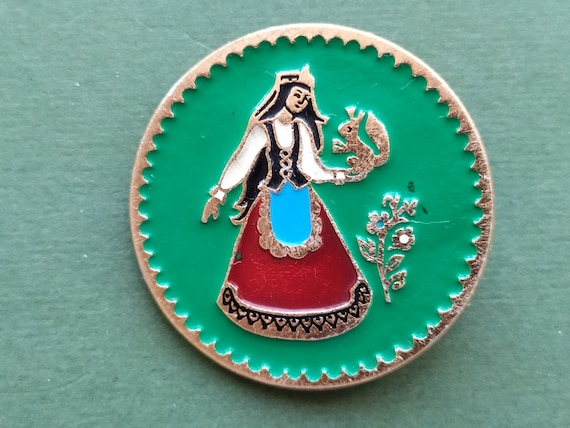 Girl with flower Pin 1980s Vintage collectible soviet pin badge Made in USSR Rare Pin