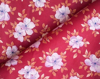 Russian  Burgundy Fabric, Soviet Vintage Burgundy Cotton Fabric with White Flowers, Retro Fabric, Made in USSR