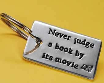 #130 Book Lover Necklace Book Nerd Charm Bracelet Key Ring Book Worm Pendant Never Judge A Book By Its Movie Scrabble Jewelry