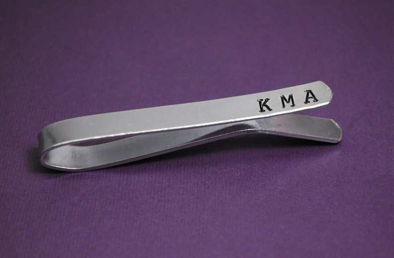 Handmade and Handstamped Sturdy Aluminum Great Father/'s Day Gift! Custom Intials Tie Bar