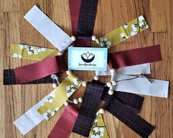 Fall Fabric Garland - Autumn Scrap Tie Garland Mantle Decor - Fall Decor Banner - Photo Prop, Wedding Banner, Bridal Shower, 3 Foot Length
