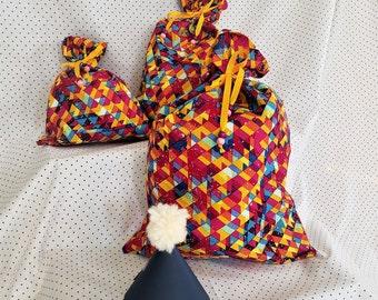 Reusable Gift Bag, Colorful Party Gift Bag, Zero Waste Gift Wrap, Cloth Gift Bag, Colorful Reusable Gift Bag