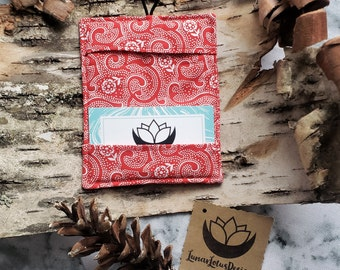 Red Fabric Wallet - Business Card Holder, Gift Cards, ID Cards, Credit Cards, Bi-fold wallet, Women's Fabric Wallet, Purse Organization